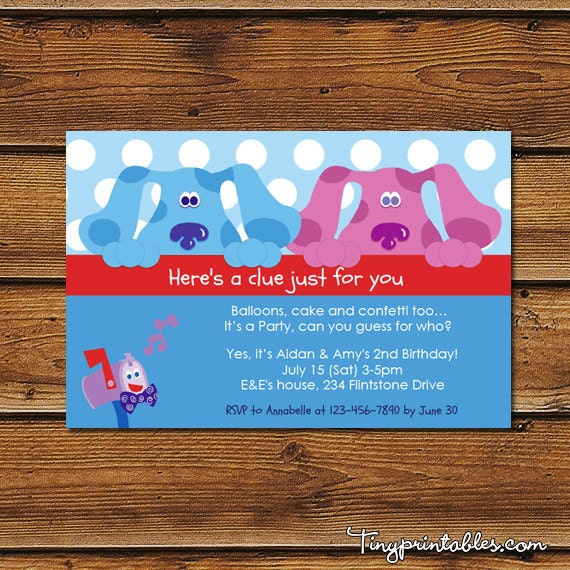 Blues Clues Amp Magenta Birthday Party Invitations For Boys And