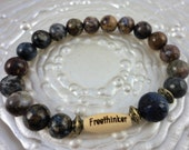 Cool Mens Unisex freethinker bead with Jasper and Lapis Lazuli gemstones, freethinker, Godless Jewelry, Atheism, free shipping