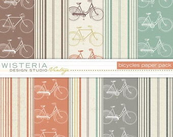 Bicycles Paper Pack - INSTANT DOWNLOAD - For Personal & Commercial Use - Digital Designs