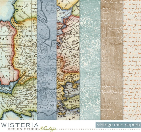 Vintage Maps Paper Pack - INSTANT DOWNLOAD - For Personal & Commercial Use - Digital Designs
