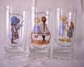 Vintage Holly Hobbie Glass Tumblers Glasses Set of 3 World Wide Arts
