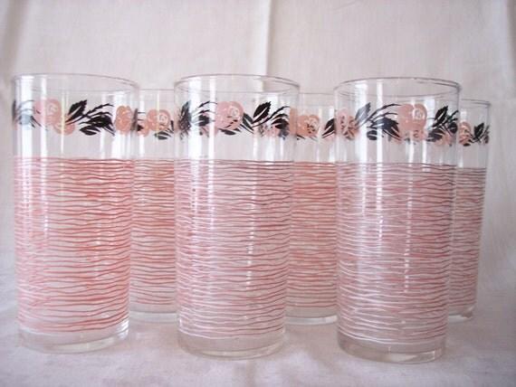 Vintage Glass Tumblers Pink Black 1950s Set of 6 Mid Century