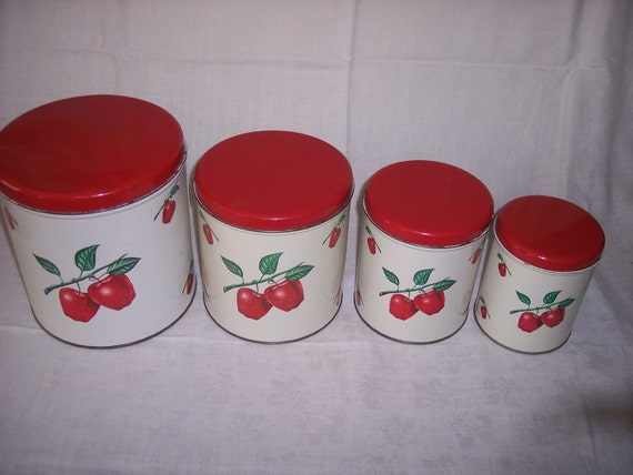 Decoware Kitchen Canisters 1950s Tin with Apple Design Set of 4