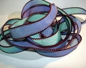"Burgundy Mint 42"" hand dyed silk wrist wrap bracelet ribbon//Yoga wrist wrap bracelet ribbons//Silk wrist wrap ribbon// By Color Kissed Silk"