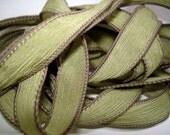 "Bay leaf  42"" hand dyed wrist wrap bracelet silk ribbon//Yoga wrist wrap bracelet ribbons//Silk wrist wrap ribbon// By Color Kissed"