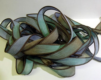 """Creme De Mint 42 """"hand dyed  silk ribbon// Silk Wrist Wrap  Bracelet Ribbons// Silk Wrap Ribbons// Silk Ribbons//By Color Kissed Silk"""