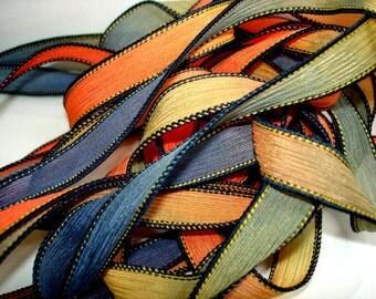 "Spectrum  42"" hand dyed wrist wrap bracelet silk ribbon//Yoga wrist wrap bracelet ribbons//Silk wrist wrap ribbon// By Color Kissed"
