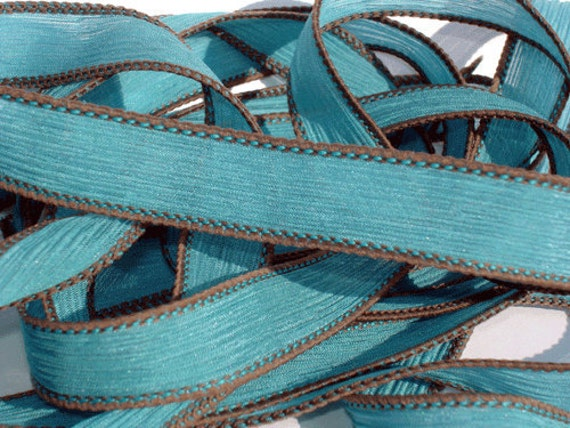 "Teal 42"" hand dyed wrist wrap bracelet silk ribbon//Yoga wrist wrap bracelet ribbons//Silk wrist wrap ribbon// By Color Kissed"