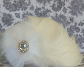 Lovely 1920s Flapper, Edwardian, Steampunk Style Wedding Hair Fascinator With White Rooster Feathers and Fabric Flower