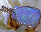Solid Opal Wire Wrapped Pendant