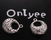 6pcs-19mmX16mm White Gold plated Shaped Filigree pendants,charms(K140S)