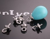 50%off 16Pcs - 4mmX8mm White Gold Plated over Brass Bead cap with Peg(K200S)