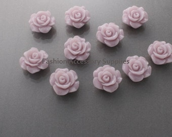 50%off 8pcs-13mm Detaied Leaves Rose Resin Cabochons -8colors Lilac (J100-A)