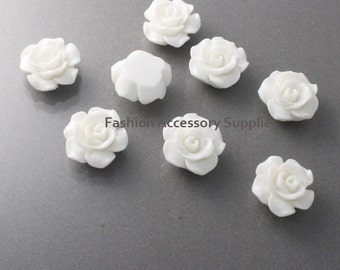 50%off 8pcs-13mm Detaied Leaves Rose Resin Cabochons -8colors White(J100-H)