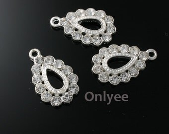 6pcs-23mmX13mm  Zircon Drop Charm  Silver Plated over Brass(K102)