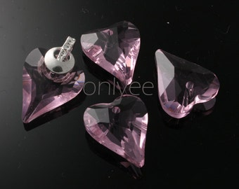 2pcs-22mmX18mm  Crystal Heart High Quality Detail 4Colors- Pink (L100-A)
