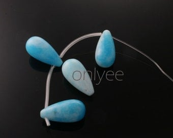 4pcs-20mmX10mm Candy Jade soomth Teardrops in multicolor-Blue( L128)