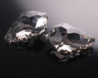 2pcs-28mmX20mm  Crystal Baroque Pendant High Quality Detail 5Colors- Gray (L101-D)