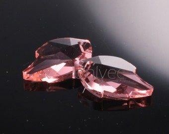 2pcs-25mmX16mm  Crystal Leaf  Pendant High Quality Detail 3Colors- Pink (L104-A)