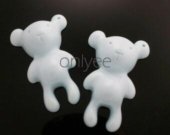 2pcs-60mmX38mm  Resin Cute Bear Pendant High Quality Detail 2Colors- Mint(C568)