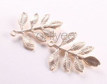 6pcs-26mmX24mm Matte Gold Tarnish resistant Leaves pendant, connector, charm(K123G)