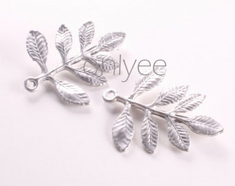 6pcs-26mmX24mm Matte Silver Tarnish resistant Leaves pendant, connector, charm(K123S)