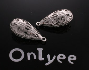 6pcs-24mmX12mm White Gold plated Romantic Tear drop pendants(K133S)