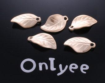 10pcs-17mmX10mm Matte Gold Tarnish resistant Leaves pendant, connector, charm(K127G)