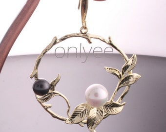 6pcs-40mmX37mm 14K Gold plated Round in the Branch Leaves pendants/Charms/Connectors(K151G)
