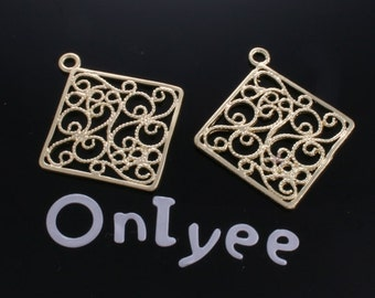 10pcs-32mmX27mm 14K Gold plated Romantic Filigree Square Charms/ pendants/Connectors(K153G)