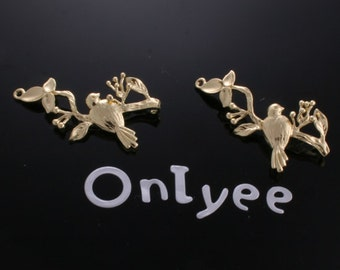 50%off-10pcs-28mmX19mm 14K Gold plated  Bird and berry branch Charms/ pendants/Connectors(K157G)