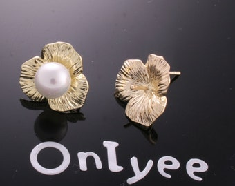10pcs-17mmX17mm 14K Gold plated Flower Earrings Connectors/ Charms/ pendants(K160G)