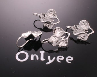 10pcs-15mmX15mm White Gold plated  Earrings 3-Leaves Connectors/ Charms/ pendants(K164S)