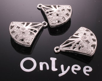 6pcs-25mmX19mm White Gold plated Puffy Fan Shape Filigree with flower Pendants/ Charms/ Connectors(K174S)