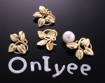 10pcs-11mmX17mm 14K Gold plated Romantic 4Leaves Vine Charms/ pendants(K178G)