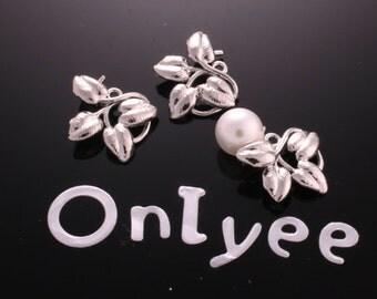 10pcs-11mmX17mm White Gold plated Romantic 4Leaves Vine Charms/ pendants(K178S)
