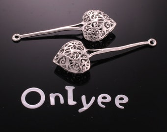 6pcs-40mmX17mm White Gold plated Romantic Filigree Long Heart- Shaped Charms/ pendants(K181S)