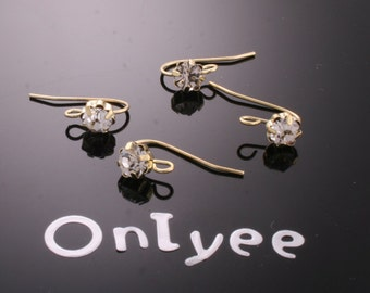 8pcs-11mmX18mm 14K Gold plated Brass Zircon Earrings With Loop Connectors(K195G)