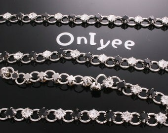 3FT(1yd)-  Clear,Black Rhinestone Silver Plated over Brass / 4mm(C548)