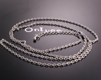 30pcs- Antiqued Silver Brass Chain and Lobster Clasp with Extension Chain (A470-S)