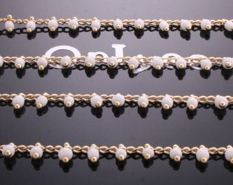 3FT- Chain Lacy White Seed Glass Bead, Gold Plated over Brass / 2.6mm(N108G)