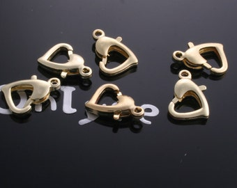 20pcs-13mmX12mm14K Gold Plated over Brass Slim and Solid Brass Heart Lobster Clasp(K206G)
