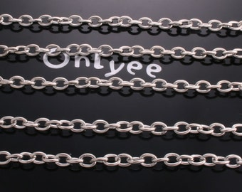 3FT- 4.3mm x 3mm White gold plated brass Nickel Free Chain(N101S)