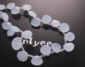 6pcs-11mmX11mm Briolette Candy Jade puffy Teardrop 9Colors-Baby blue (L121-I)