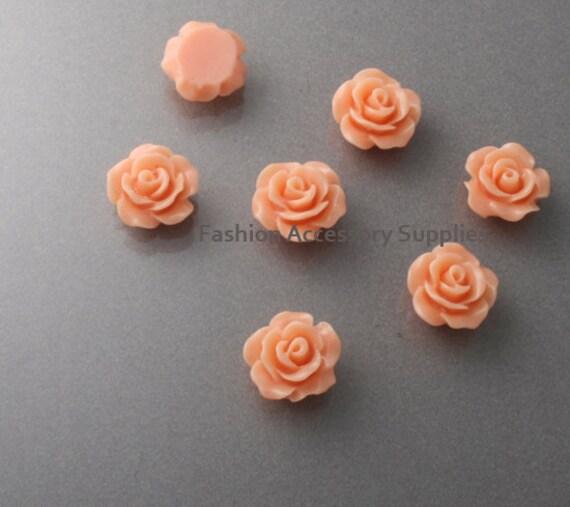 50%off 16pcs-10mm Detaied Leaves Rose Resin Cabochons -10colors Peach(J101-K)