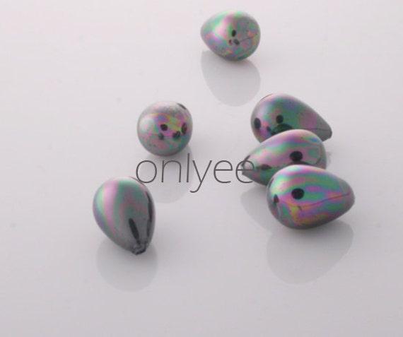 4pcs-10mmX7mm Half-drilled Shell Pearl Beads Lustrous Peacock Rainbow Teardrops (L110)