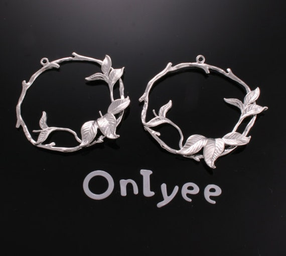 6pcs-40mmX37mm White Gold plated Round in the Branch Leaves pendants/Charms/Connectors(K151S)