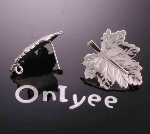 10pcs-27mmX22mm White Gold plated  Earrings Big Leaf Connectors/ Charms/ pendants(K165S)