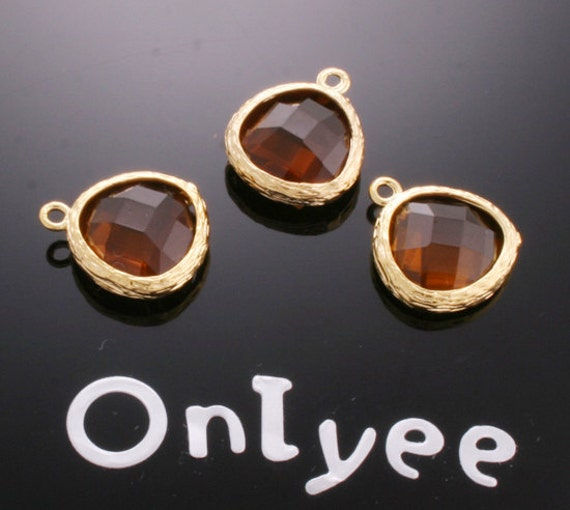 8pcs-17mmX14mm 14K Gold plated Faceted triangle teardrop resin Charms/ pendants-Brown(M100G-BR)