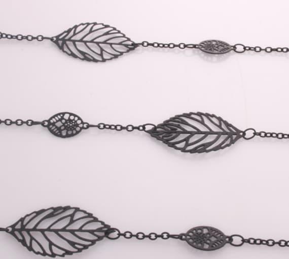 3FT(1yd)- Leaf Chain Black Matte Finished Plating over Brass( 23mm Leaf size)(C542)